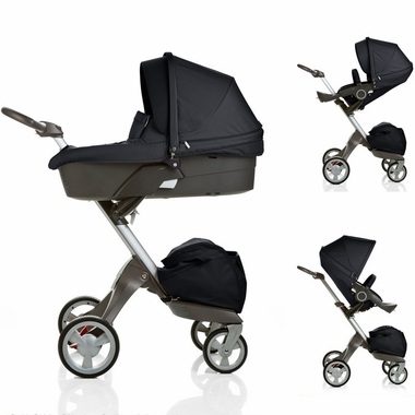 Dark Navy Xplory Carry Cot Stroller Complete by Stokke - Click to enlarge