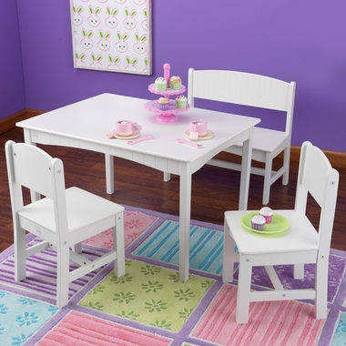 White Nantucket Table with Bench and Two Chairs by KidKraft - Click to enlarge