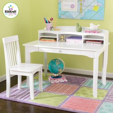 White Avalon Desk with Hutch by KidKraft - Click to enlarge