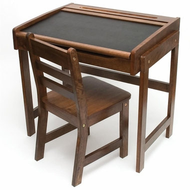 Walnut Desk with Chalkboard Top & Chair by Lipper - Click to enlarge
