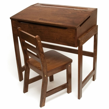 Walnut Slanted Top Desk & Chair by Lipper - Click to enlarge