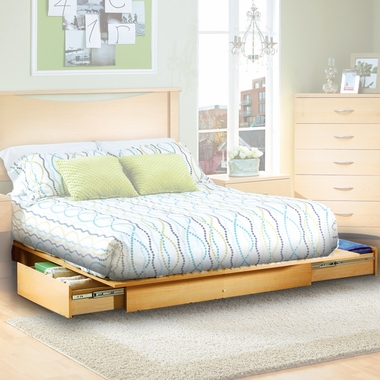 Natural Maple Step One Storage Platform Bed by SouthShore