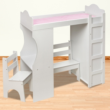 Badger Basket Loft Doll Bed with Armoire and Desk
