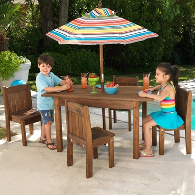 Espresso Outdoor Table & Stacking Chairs by KidKraft