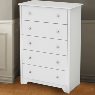 Pure White Fusion 5 Drawer Chest by SouthShore - Click to enlarge