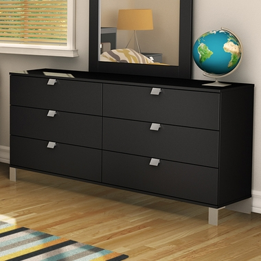 Pure Black Karma 6 Drawer Dresser by SouthShore - Click to enlarge