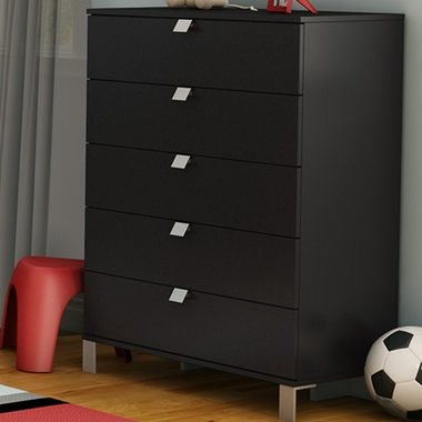 Pure Black Karma 5 Drawer Chest by SouthShore - Click to enlarge