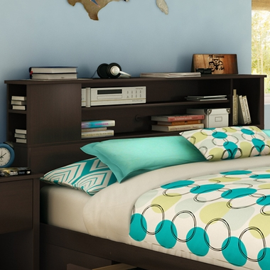 Chocolate Fusion Full/Queen Bookcase Headboard by SouthShore - Click to enlarge