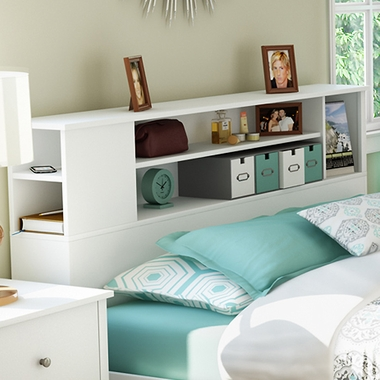 Pure White Fusion Full/Queen Bookcase Headboard by SouthShore - Click to enlarge