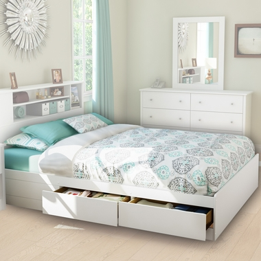 Pure White Fusion Queen Mates Bed by SouthShore - Click to enlarge
