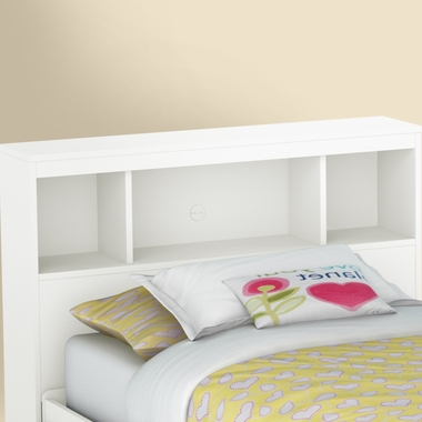 Pure White Karma Twin Bookcase Headboard by SouthShore - Click to enlarge