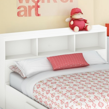 Pure White Karma Full Bookcase Headboard by SouthShore - Click to enlarge