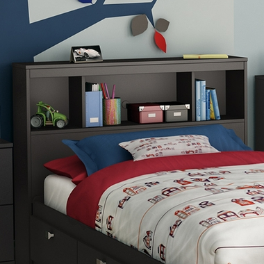 Pure Black Karma Twin Bookcase Headboard by SouthShore - Click to enlarge