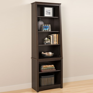 Espresso Slant-Back Bookcase by Prepac