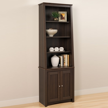 Espresso Slant-Back Bookcase with Shaker Doors by Prepac