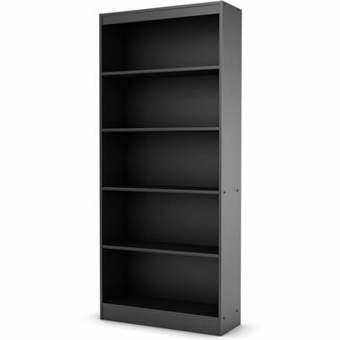 Solid black Axess 5 Shelf Bookcase by SouthShore