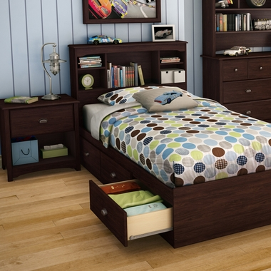 Havana Willow 3 Piece Bedroom Set - Twin Bookcase Headboard, Twin Mates Bed and Nightstand by SouthShore - Click to enlarge