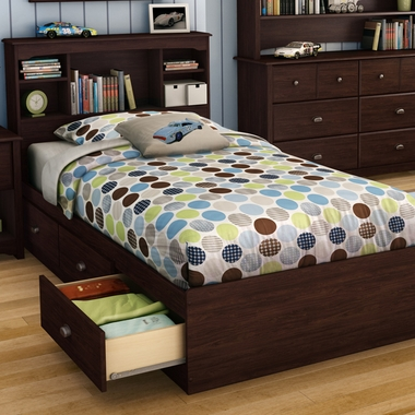 Havana Willow Twin Bookcase Headboard and Twin Mates Bed by SouthShore - Click to enlarge