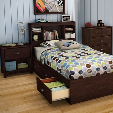 Havana Willow 4 Piece Bedroom Set - Twin Bookcase Headboard, Twin Mates Bed, 4 Drawer Chest and Nightstand by SouthShore - Click to enlarge