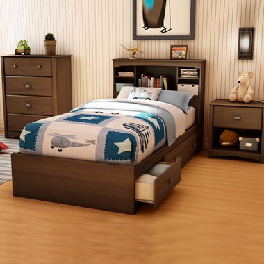 Sumptuous Cherry Willow 4 Piece Bedroom Set - Twin Bookcase Headboard, Twin Mates Bed, 4 Drawer Chest and Nightstand by SouthShore - Click to enlarge