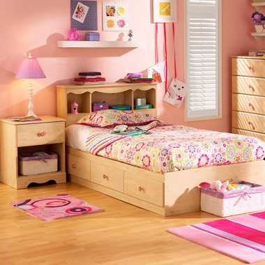 Romantic Pine Lily Rose 3 Piece Bedroom Set - Twin Bookcase Headboard, Twin Mates Bed and Nightstand by SouthShore