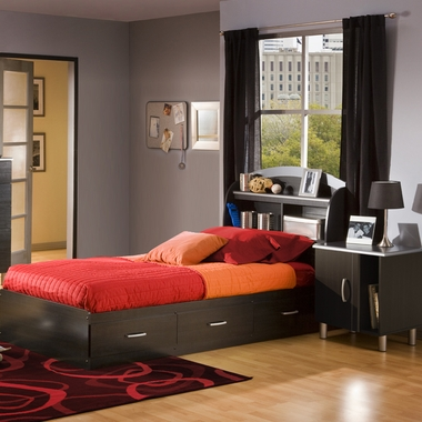 Charcoal & Black Onyx Lazer Twin Bookcase Headboard, Mates Bed and Nightstand by SouthShore