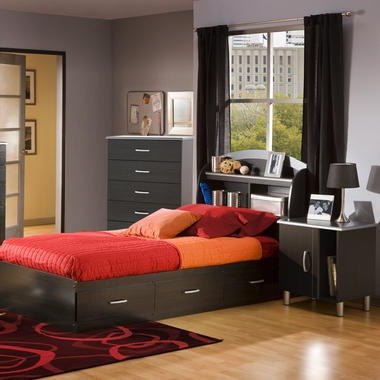 Charcoal & Black Onyx Lazer Twin Bookcase Headboard, Mates Bed, 5 Drawer Dresser and Nightstand by SouthShore