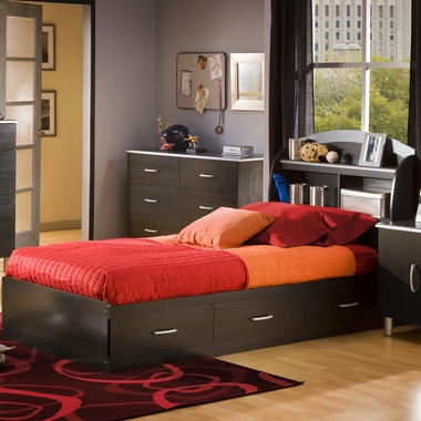 Charcoal & Black Onyx Lazer Twin Bookcase Headboard and Mates Bed by SouthShore