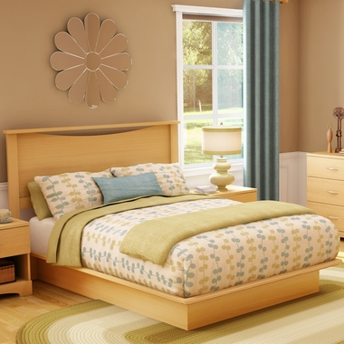 Natural Maple Step One Queen Headboard and Queen Platform Bed by SouthShore