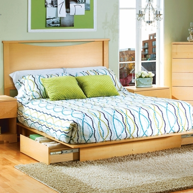 Natural Maple Step One Full Headboard, Full Platform Bed and Full Platform Bed Drawer by SouthShore - Click to enlarge
