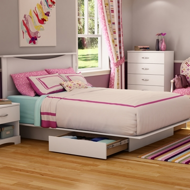 Pure White Step One Full Headboard, Full Platform Bed and Full Platform Bed Drawer by SouthShore - Click to enlarge