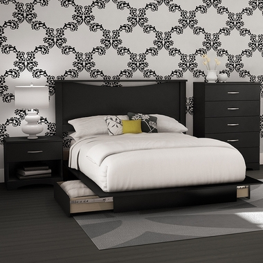 Solid Black Step One 5 Piece Bedroom Set - Full Headboard, Full Platform Bed, Full Platform Bed Drawer, Nightstand and 5 Drawer Chest by SouthShore - Click to enlarge