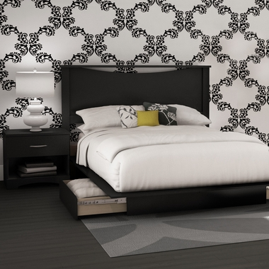 Solid Black Step One 4 Piece Bedroom Set - Queen Headboard, Queen Platform Bed, Queen Platform Bed Drawer and Nightstand by SouthShore - Click to enlarge