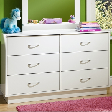 Pure White Litchi Double Dresser by SouthShore - Click to enlarge