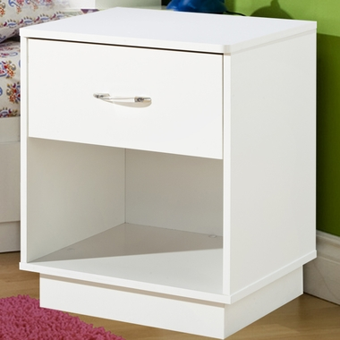 Pure White Litchi Night Stand by SouthShore - Click to enlarge