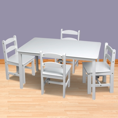 White Rectangle Table with 4 Chairs by Kids Korner - Click to enlarge
