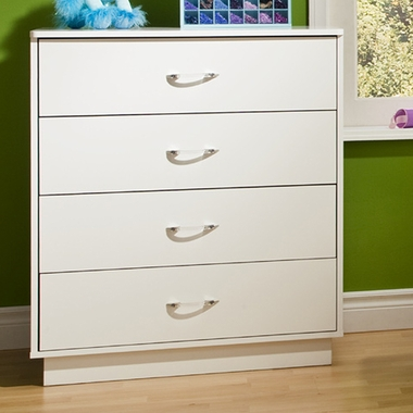 Pure White Litchi 4 Drawer Chest by SouthShore - Click to enlarge