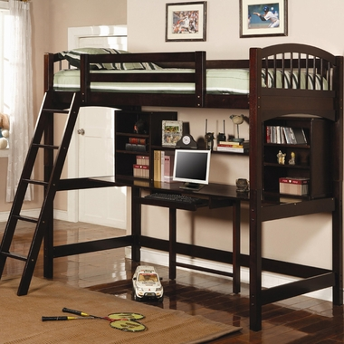 Cappuccino Dorena Twin Workstation Bunk Bed by Coaster - Click to enlarge