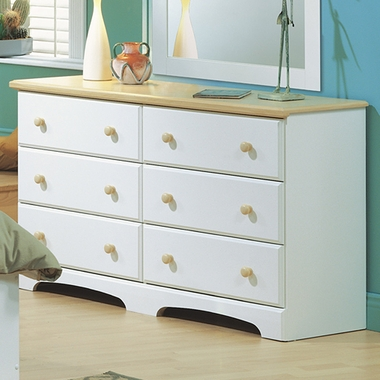 Pure White/Maple Newbury Double Dresser by SouthShore