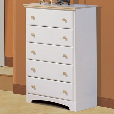 Pure White/Maple Newbury 5 Drawer Dresser by SouthShore