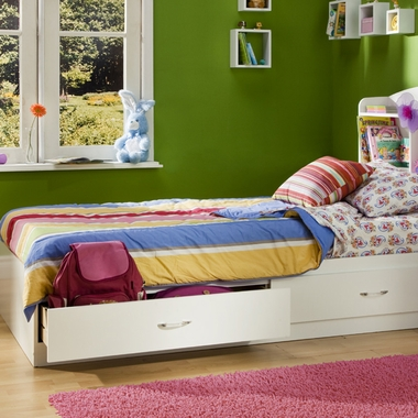 Pure White Litchi Twin Mates Bed by SouthShore - Click to enlarge