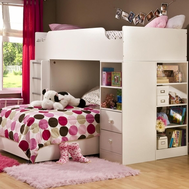 Pure White Logik Complete Loft Bed by SouthShore - Click to enlarge