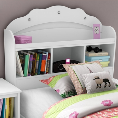 Pure White Tiara Transitional Twin Bookcase Headboard by SouthShore