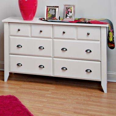 Matte White Shoal Creek 6 Drawer Double Dresser by Child Craft - Click to enlarge