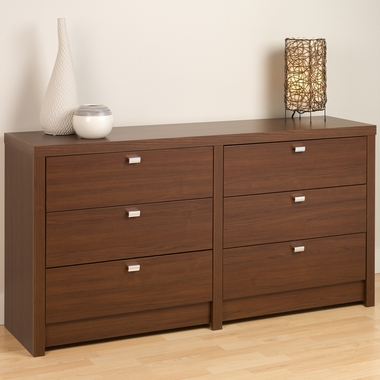 Medium Brown Walnut Series 9 Designer 6 Drawer Dresser by PrePac - Click to enlarge