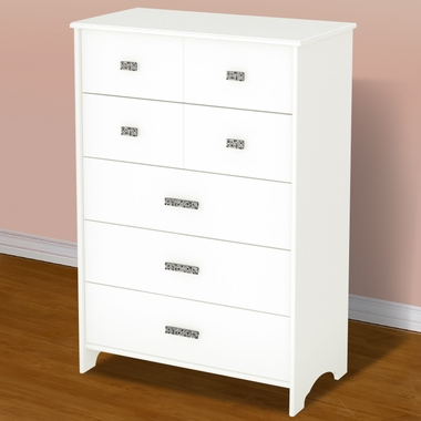 Pure White Tiara Transitional 5 Drawer Chest by SouthShore