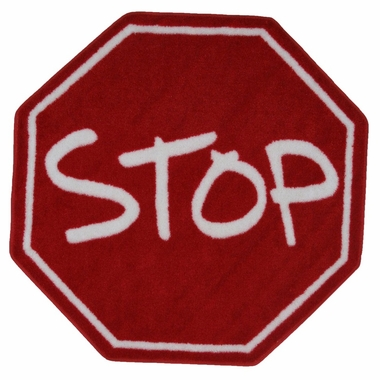 Stop Sign High Pile Round Rug 39