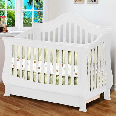 White Ashbury 4-in-1 Sleigh Convertible Crib with Toddler Rail by SimplyKidsFurniture Exclusive - Click to enlarge