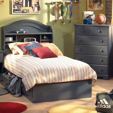 Blueberry Provincetown 3 Piece Bedroom Set - Twin Bookcase Headboard, Twin Mates Bed and 5 Drawer Chest by SouthShore
