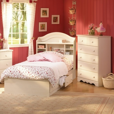 Vanilla Cream Summer Breeze 3 Piece Bedroom Set - Twin Bookcase Headboard, Twin Mates Bed and 5 Drawer Chest by SouthShore